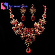 2018 Hot Charm Prom Wedding Bridal Jewelry Red Crystal Rhinestone Necklace  Earrings Set Jewelry Sets for Women Gifts Wholesale 01ee62bf889c
