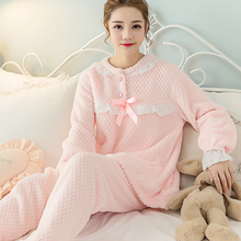 Sweet Lady Flannel Pajama Set Coral Fleece Women Sleepwear Nighties Big Size XL Pajamas Cute Princess Lolita Striped Pajama 259