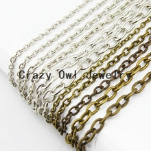 4mm*6mm 6 Colors 10Meter/lot Oval Open Link Cable Necklace Chains Bulk Iron Jewelry Chain Lots Y1117