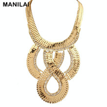 Women Vintage Statement Jewelry Rhinestones Alloy Big Chain Necklace Fashion Chokers Collar Party Dress Accessories #1417