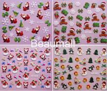 Merry Christmas 3D Designs Nail Decals Back Glue Nail Stickers For Nail Tips Beauty DIY#XF359~XF382(China)