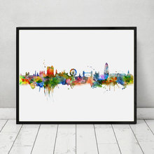 London Skyline City Poster Watercolor Painting London Wall Hanging Skyline Wall Decor Landscape Poster Art Print AP070(China)