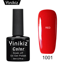 Yinikiz Red Color Gelpolish Glitter Soak-off UV/LED Gel Polish Long-lasting Nail Art Manicure Shining Gel Nail Polish