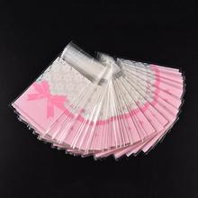 100 Pcs Cake Gift Packages OPP Plastic Package Bag Lovely Pink Bow Design Candy Cute Paper Pack