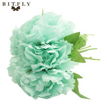 5 Heads/Bouquet Vintage Artificial Peony Bouquet Silk Leaf Flower Wedding Home Decor-L1(China)