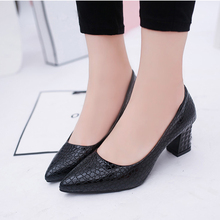 LLZCY Women Pumps 6CM Pointed Toe High Heels Block Heel Shoes for Woman Soft Leather Dress Shoes Wedding shoes