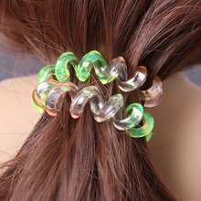 5PCS Women Girls Gradient Elastic Rubber Telephone Wire Hairbands Ponytail Holders Random Color