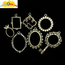 Buy Vintage Oval Lace Open Bezels Charms DIY Resin Craft Accessories Square Round Metal Mirror Pendant Jewelry Hollow Frame for $2.97 in AliExpress store