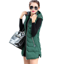 Fashion Women Vest Winter New 2017 Jacket Thick Long Coat Waistcoat Removable Hat Slim Plus size Female Down Cotton Outerwear(China)