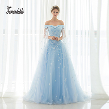 New Arrival Blue Off The Shoulder Hand Made Flowers Princess Wedding Dress Marry Dresses Bridal Dresses Hot Sale In Stock