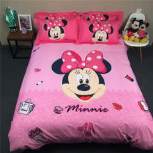 Disney Minnie Mouse 3D Printed Bedding Set Coverlets Bedspreads for Girls Bed Cotton Woven 500TC Twin Queen King SZ Pink Color