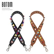 Botom Handbag strap Strapper you rivet handbags belts women bags strap women bag accessory bags parts Cow leather icon bag belts