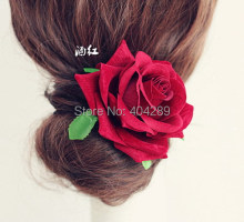 24pcs/lot High Quality Artificial Velvet Rose Flower Brooch Hair Clips Bridal Wedding Party Woman Flower Hair Fascinator
