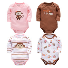 Fashion Baby Rompers Newborn 4Pcs/lot Long Sleeve Baby Clothes for Cotton Next Baby Clothing Girls Boy Romper Overalls Costume