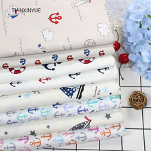 Twill 8 pcs Ocean anchor series Cotton Fabric DIY Patchwork Sewing Kids Bedding Bags Cloth Textiles Sailing Fabric 40*50cm(China)