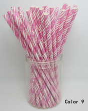 25 Pcs/Pack Paper Straws Colorful Drinking Straws For Wedding Party Birthday Decoration Color 9