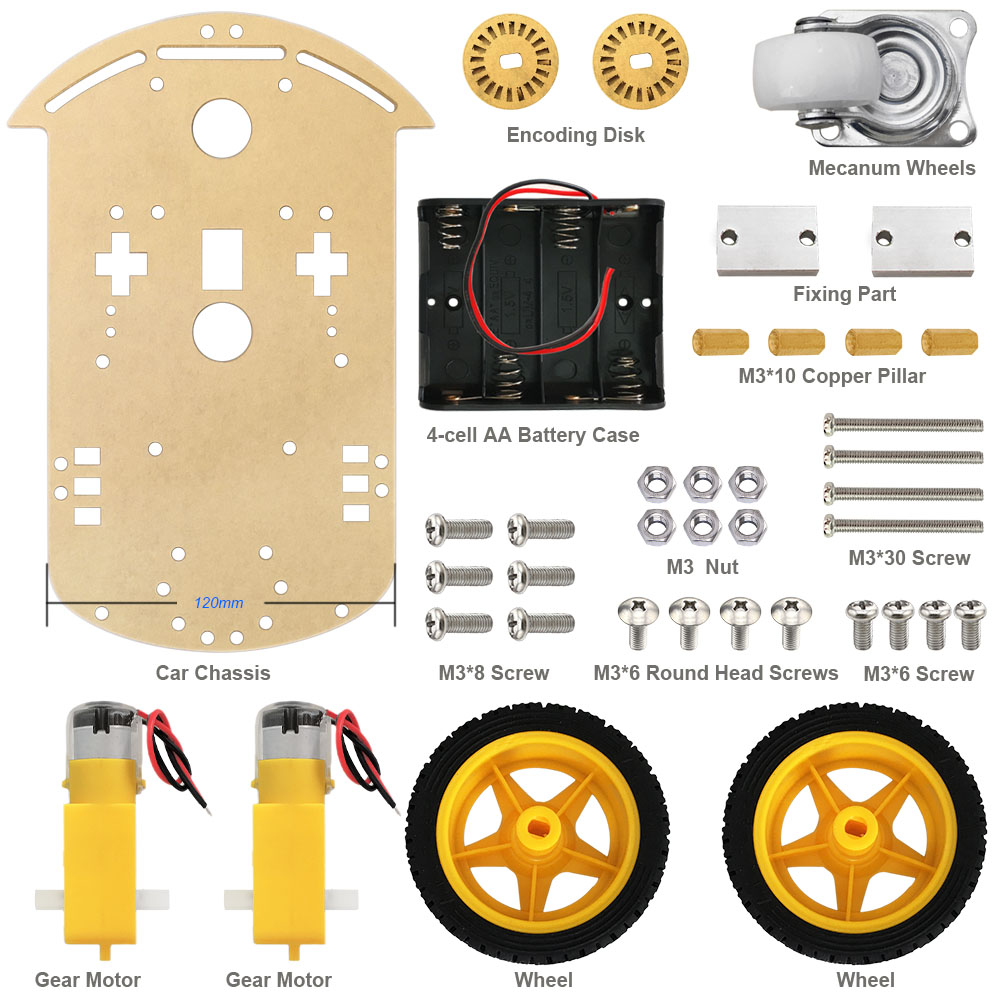 Free shipping! Motor Smart Robot Car Chassis /Tracing car box Kit Speed Encoder +Battery Box Arduino Robot