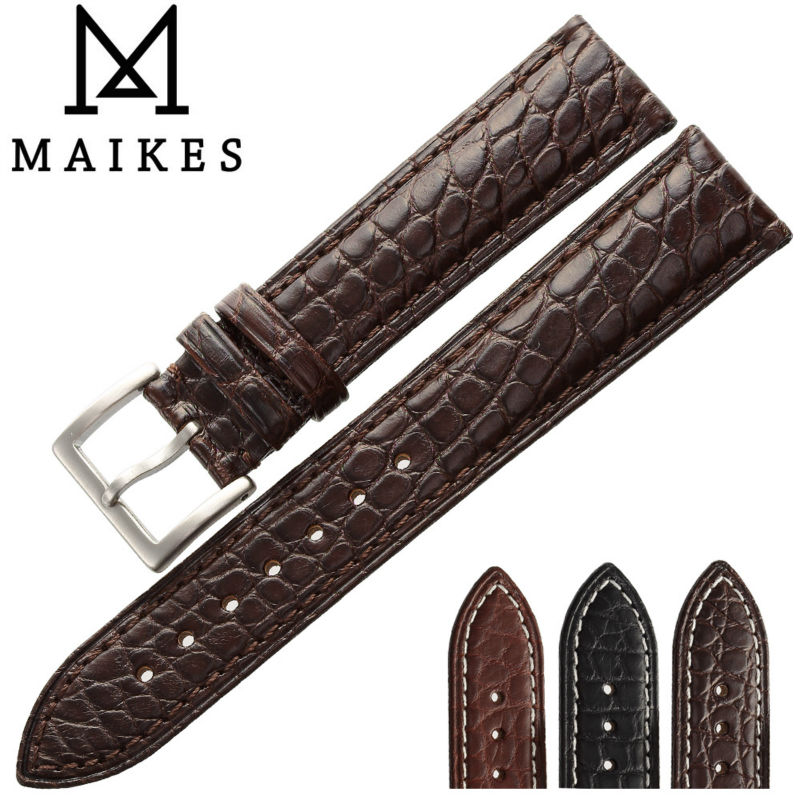 MAIKES New Luxury Accessories Genuine Alligator Leather Watch band Strap Brown 18 20 21 22 24 mm Crocodile Watchband For IWC  <br><br>Aliexpress