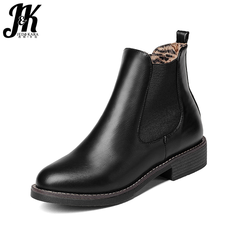J&amp;K Slip On Elastic Band Rubber Boots Winter 2017 New Arrival Ankle Chelsea Boots Women Shoes Square Heel Female Footwear<br>