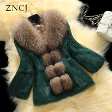 ZNCJ Real Rabbit Fur Coats Korean Style Fur Coats Raccoon Collar Short Casual Slim Green Black Red White Pink M-XXL Women Jacket
