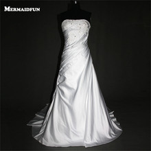 Buy 2017 Real Photos Mermaid Beaded Lace Satin Lace-up Back Custom Made Wedding Dresses New Arrival Bridal Gown for $169.90 in AliExpress store