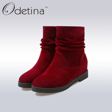 Odetina Brown Ankle Boots for Women Winter Ladies Boots 2016 Fashion Low Heel Suede Boots Large Size Height Increasing Booties