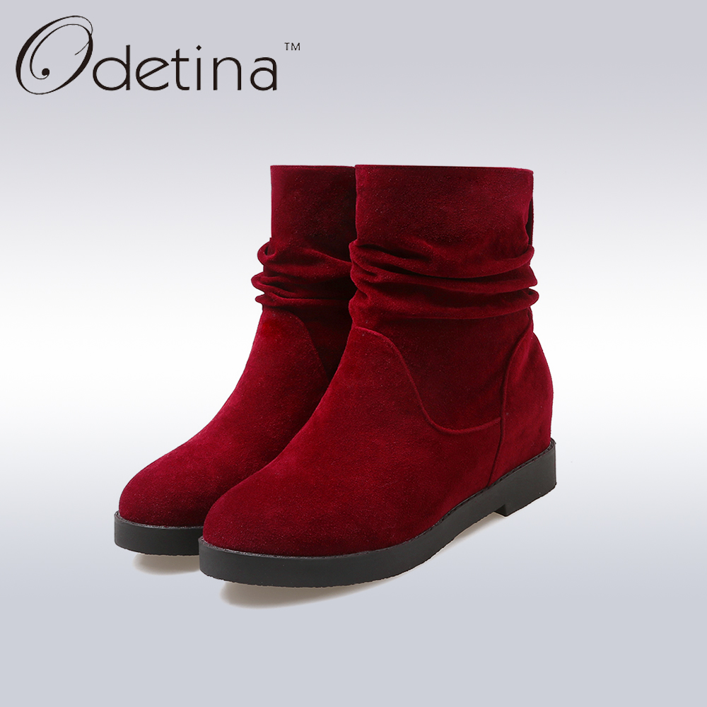 Odetina Brown Ankle Boots for Women Winter Ladies Boots 2017 Fashion Low Heel Suede Boots Large Size Height Increasing Booties<br><br>Aliexpress