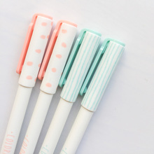 P48 3pcs/lot Simple Letter Style Pink Green Gel Pen School Office Supply Writing Student Stationery Gift 0.35mm Black Ink(China)