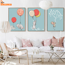 COLORFULBOY Modern Kawaii Rabbit Canvas Painting For Kids Room Watercolor Art Canvas Print Poster Wall Pictures Baby Room Decor