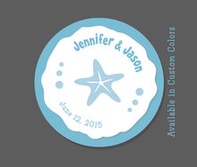 Starfish Wedding Favor Stickers - Personalized Favor Tags,Wedding Favor Stickers - Custom Colors - Aqua - Beach Wedding, Sand