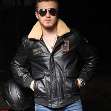 2017 New Men Pilot Leather Jacket Black Wool Collar Genuine Cowskin Slim Fit Male Winter Aviator Military Coat FREE SHIPPING