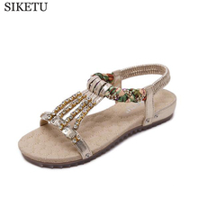SIKETU 2017 plus size 35-42 comfort sandals women Summer Classic Rhinestone fashion flat sandals Women sandals z428(China)