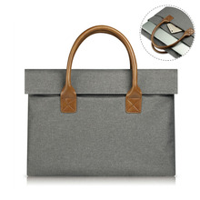 Wool Felt Handle double-layer Laptop Bag For Apple Macbook Air Pro Retina 12 13 15 Inch Notebook Computer Case Briefcase Pouch
