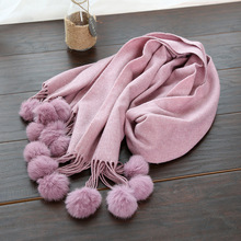 IANUS Winter Cashmere Scarf Women Solid Color Thick Blanket Wrap Ball Tassels Pashmina Warm Scarves and Stoles New [2193]