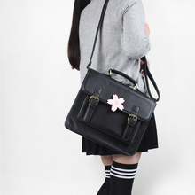 Japanese Uniform Preppy Style Handbag Women School Bag PU Fashion Vintage Handle Bag With Sakura Buckle Shoulder Bag For Girls(China)