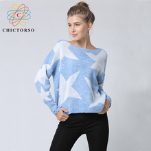 Chictorso Long Sleeve Strars Sweater Pullovers Cotton Women Winter Jumper Fashion Girls Ripped Sweaters Spring Autumn Jumpers(China)