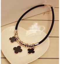 na347 Korean cute three grass leather cord necklace female short paragraph clothes ornaments necklace