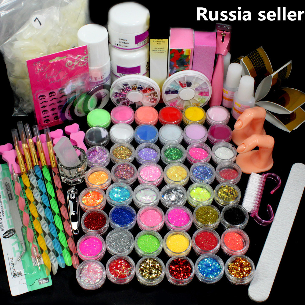 Russia Seller Acrylic Liquid False Nail Art Brush Glue Powder Buffer Block Deco Tips Tool Kit Ship From Russian 28 Set<br>