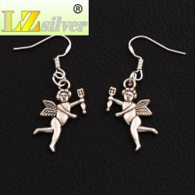 Baby Angel Cupid Earrings 925 Silver Fish Ear Hook Chandelier E196 41.6x14.3mm 30pairs Antique Silver