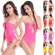 Hot Sale Ringed Center Hollow Back Bathing suits Large Female Big Women High Cut Plus size One Piece Fat Swimwear(China)