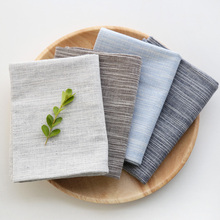 Japanese Linen Cotton Table Napkins Tea Towels Plain Strip Table Mats Home Kitchen Tablecloth