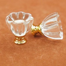 Dia 30mm Crystal Glass Dresser Knobs Drawer Pulls Handles Gold Base Cabinet Knobs Handle Pull Sparkle Clear Furniture Knob(China)