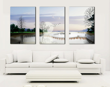 Wall Art Canvas Home Decor Wall Pictures for Living Room Poster Landscape Pure Handmade Oil Painting 3 piece Canvas Art Blue Sky