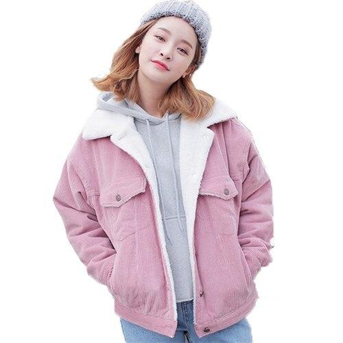 Women Casual Buttons Winter Jacket Corduroy Windbraker Coat Outwear 2017 Harajuku Pink Gray Thick Parkas CoatÎäåæäà è àêñåññóàðû<br><br>