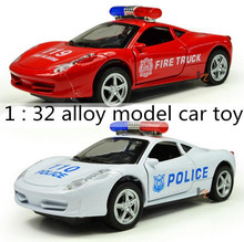 2014 Hot sale! 1:32 alloy police car, fire truck pull back car toy model,open door sound and light car toy, free shipping