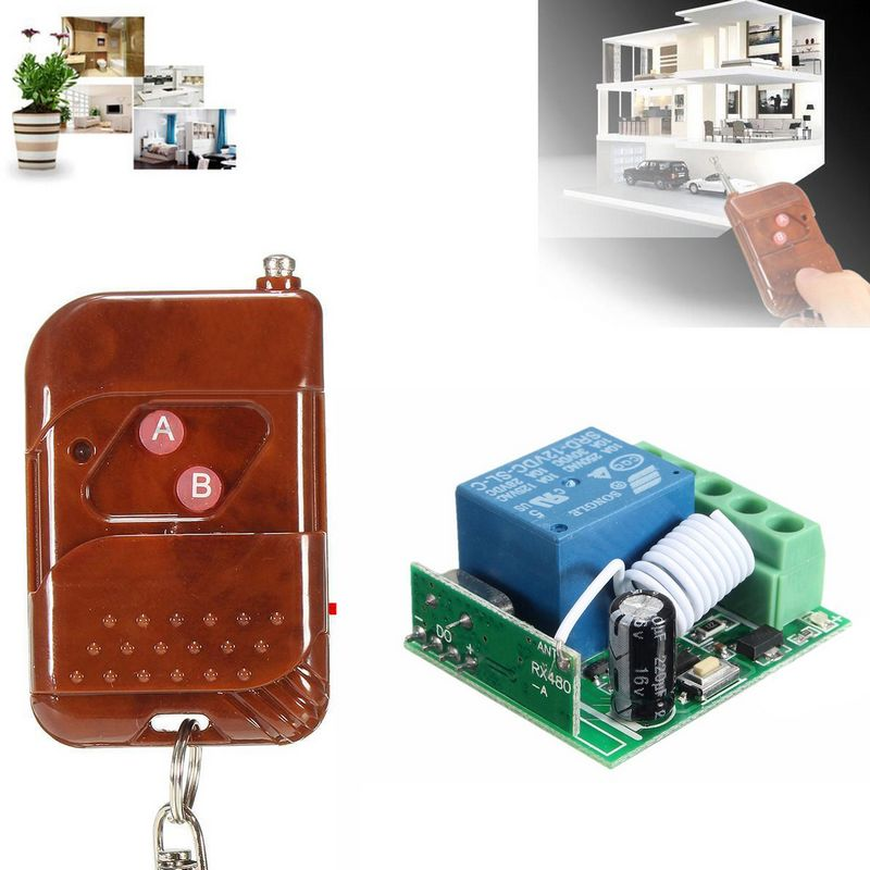 12V 10A 1 Channel Wireless RF Remote Control 433MHZ Pro Relay Remote Switch Transmitter+Receiver For Garage Door RGB lights