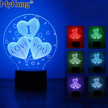 3D LED Night Light Balloons Heart Shape I Love You Romantic Atmosphere Lamp Home Decor Gadget Nightlight Baby Lovers Gift 1pc