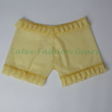 2016 New fashion women's transparent latex shorts with ruffle fetish sexy charming bloomer pants hot sale top quality(China)