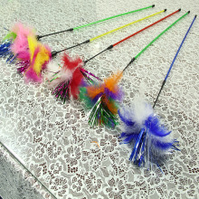 3pcs Traditional Cats Teasing Feather Sticks With Bright Sequin Paper Cats Tease Toy Fancy Jumping Training Kedi Malzemeleri(China)