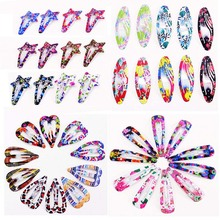10PCS/12PCS/Set Fashion 7 Shapes Kids Print Floral Colorful Hairpins Girls Chilren Cute Hair Clips Hair Accessories